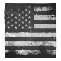 Black and White Grunge American Flag Bandana