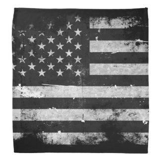 Black and White Grunge American Flag Bandana