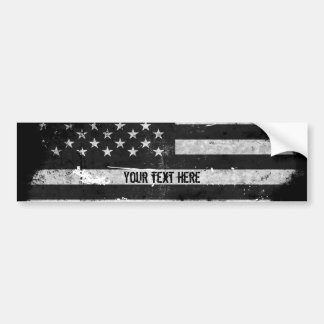 Black and White Grunge American Flag Bumper Sticker