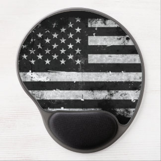 Black and White Grunge American Flag Gel Mouse Pad