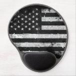 Black and White Grunge American Flag Gel Mousepad