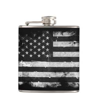 Black and White Grunge American Flag Hip Flask
