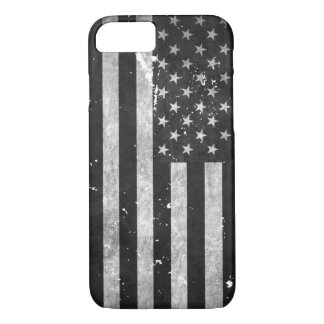 Black and White Grunge American Flag iPhone 7 Case
