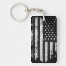 Black and White Grunge American Flag Keychain