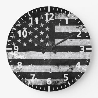 Black and White Grunge American Flag Large Clock