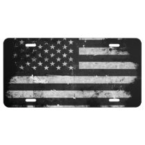Black and White Grunge American Flag License Plate