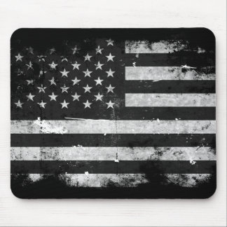 Black and White Grunge American Flag Mouse Pad