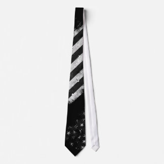 Black and White Grunge American Flag Neck Tie