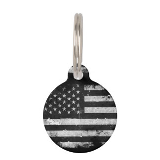 Black and White Grunge American Flag Pet Name Tag