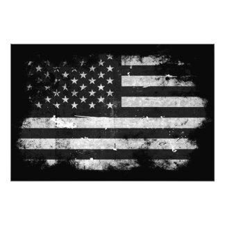 Black and White Grunge American Flag Art Photo