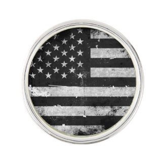 Black and White Grunge American Flag Pin
