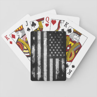 Black and White Grunge American Flag Poker Deck