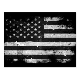 Black and White Grunge American Flag Postcard