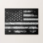 Black and White Grunge American Flag Puzzle