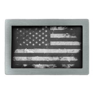 Black and White Grunge American Flag Rectangular Belt Buckle