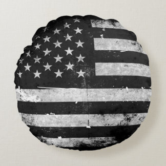 Black and White Grunge American Flag Round Pillow