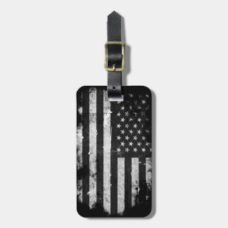 Black and White Grunge American Flag Tag For Luggage