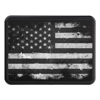 Black and White Grunge American Flag Trailer Hitch Cover