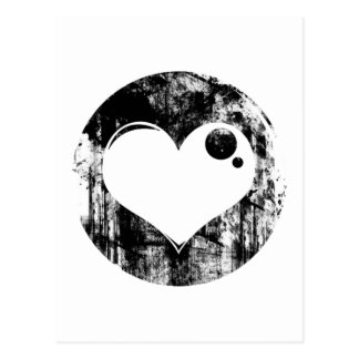 Black and White Grunge Heart Postcard
