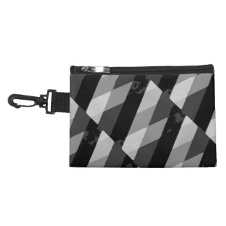 Black and White Grunge Striped Pattern Accessory Bag