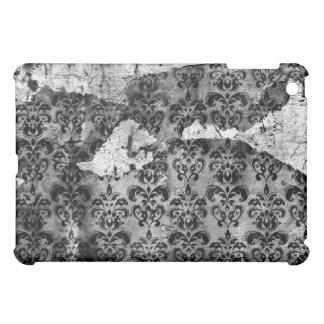 Black and White Grunge Torn Damask  iPad Mini Case