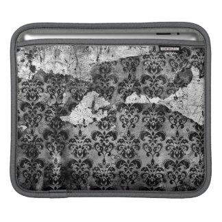Black and White Grunge Torn Damask iPad Sleeve