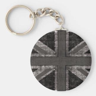 black and white grunge UK flag  design Basic Round Button Keychain