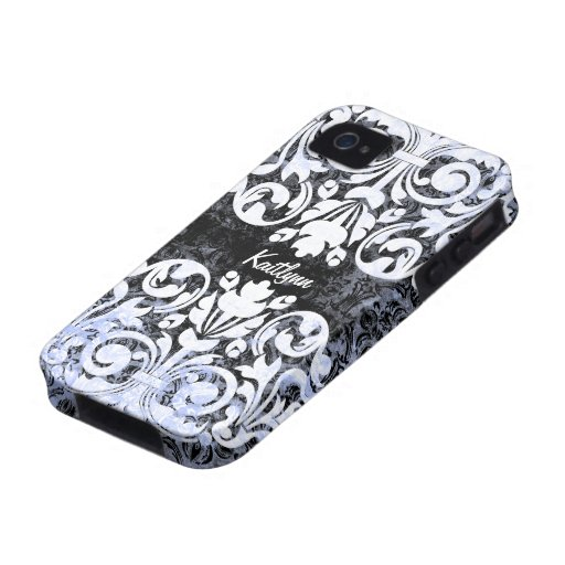 Black and White Grunge Vintage Damask Personalized Case-Mate iPhone 4 Cases