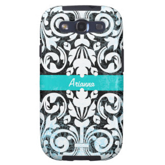 Black and White Grunge Vintage Damask Personalized Galaxy SIII Case