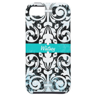 Black and White Grunge Vintage Damask Personalized iPhone 5 Covers