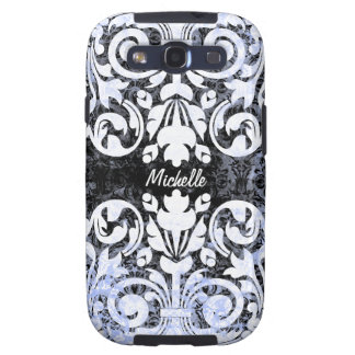 Black and White Grunge Vintage Damask Personalized Samsung Galaxy S3 Cover