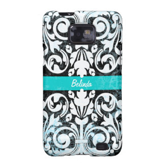 Black and White Grunge Vintage Damask Personalized Galaxy S2 Case