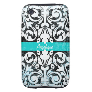 Black and White Grunge Vintage Damask Personalized Tough iPhone 3 Cover