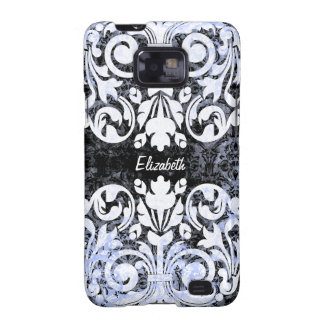 Black and White Grunge Vintage Damask Personalized Galaxy S2 Covers