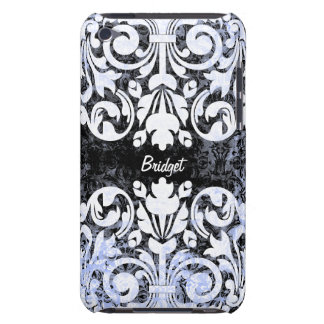 Black and White Grunge Vintage Damask Personalized iPod Touch Cases