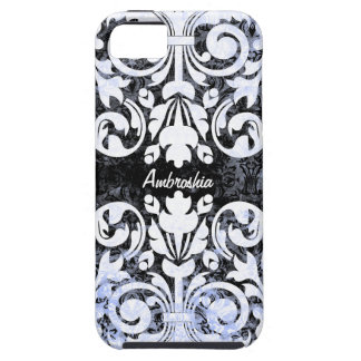 Black and White Grunge Vintage Damask Personalized iPhone 5 Cases