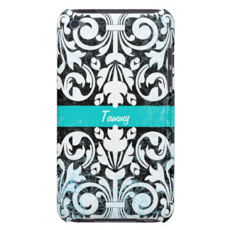 Black and White Grunge Vintage Damask Personalized Case-Mate iPod Touch Case