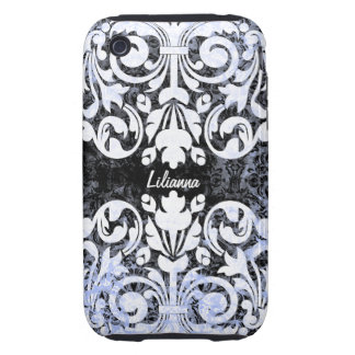 Black and White Grunge Vintage Damask Personalized Tough iPhone 3 Cases
