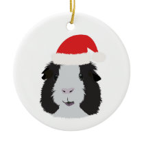 Black and White Guinea Pig Ceramic Ornament