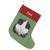 Black And White Guinea Pig Personalized Large Christmas Stocking