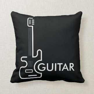 Black and White Guitar Design Throw Pillow