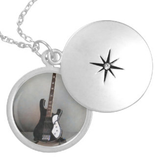 Black and White Guitar Locket Necklace