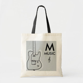 black and white guitar personalized tote bag
