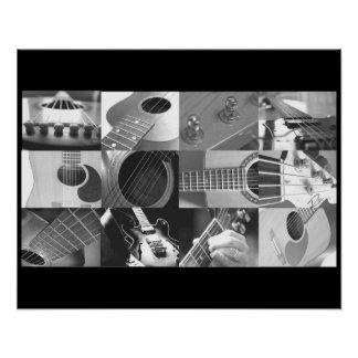 Black and White Guitar Photo Collage Print