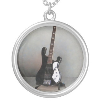 Black and White Guitar Silver Plated Necklace