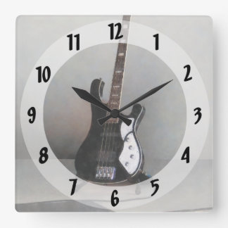 Black and White Guitar Square Wall Clock