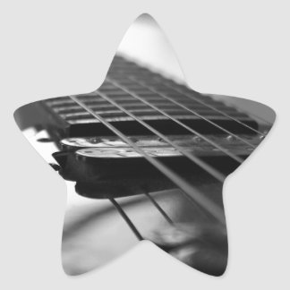 Black and White Guitar Star Sticker