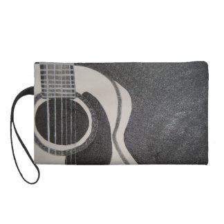 black and white guitar wristlet