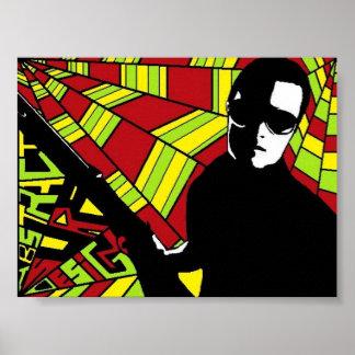 Black and White Gunman Poster