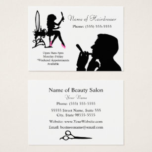 Women business cards templates zazzle black and white hairdresser for men and women business card colourmoves Gallery